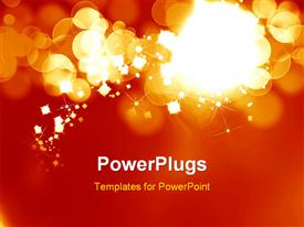 PowerPoint template displaying bright fireworks on a soft orange background