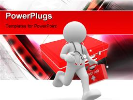 PowerPoint template displaying doctor with stethoscope rushing to patient with first aid box