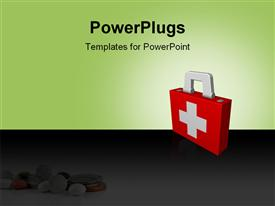 PowerPoint template displaying first aid box depicting health and safety concept with medicines