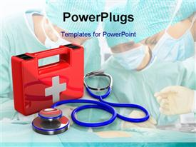 PowerPoint template displaying red first aid kit with medical doctors kitted with masks on