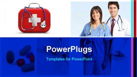 PowerPoint template displaying doctors with stethoscope and medicines depicting medical concept with pills