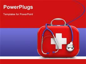 PowerPoint template displaying medical first aid box with stethoscope on red and blue background