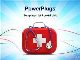 PowerPoint template displaying first aid box and stethoscope with medical symbol on blue background
