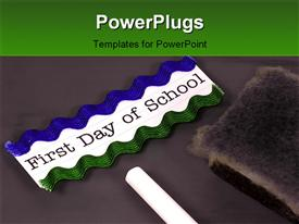 Blackboard with chalk and eraser. back to school concept template for powerpoint