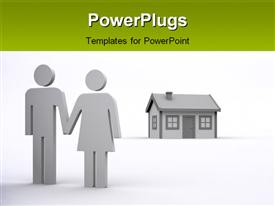 PowerPoint template displaying couple hold hands with small residential house on white background