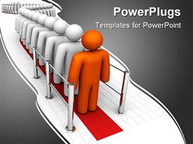 PowerPoint template displaying long line of people at a checkout. 3D on an isolated background