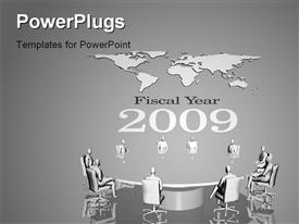 PowerPoint template displaying background depiction of 2009 with world map in background. communication corporate concept