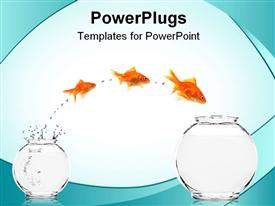 Three goldfishes jumping from small to bigger bowl powerpoint theme