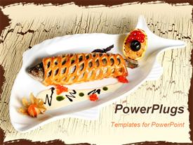 Fish fired with bread and red caviar template for powerpoint