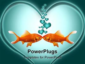 Two goldfish kissing with heart bubbles going up powerpoint theme