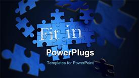 PowerPoint template displaying forming puzzle with the words fit