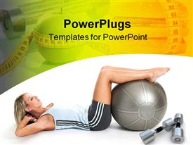 PowerPoint template displaying woman doing crunches on exercise ball