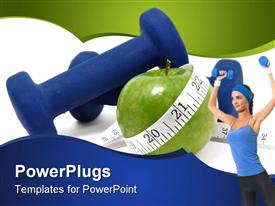 Blue weights green apple and tape measure presentation background