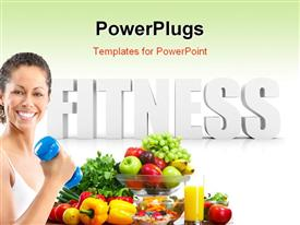Fitness word in 3D illustration powerpoint design layout