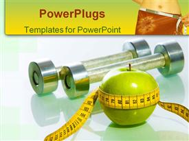 PowerPoint template displaying green apple tied with measuring tape on the background of dumbbells