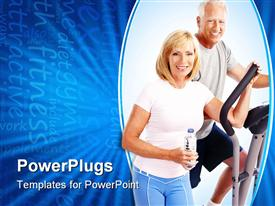 PowerPoint template displaying gym & Fitness. Smiling elderly couple working out