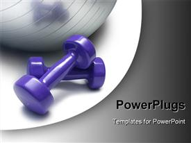 PowerPoint template displaying hand weights with shiny silver medi-ball