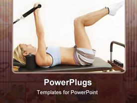 PowerPoint template displaying pilates reformer bed