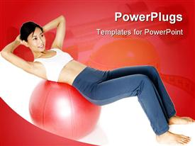 PowerPoint template displaying a girl trying to do exercise with a fitness ball