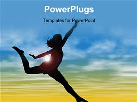 Silhouette Of Woman Jumping Against Sky powerpoint template
