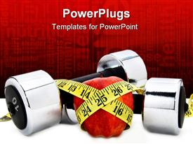 PowerPoint template displaying apple covered in yellow tailoring measuring tape with hand weighs on white ground and diet related words printed on red background