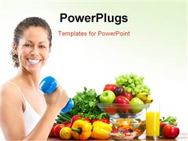 PowerPoint template displaying woman fitness working out exercise health in the background.