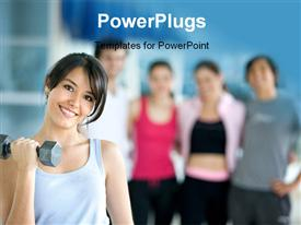 PowerPoint template displaying woman at the gym exercising with free weights along with group of people