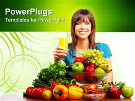 PowerPoint template displaying young smiling woman with juice fruits and vegetables in the background.