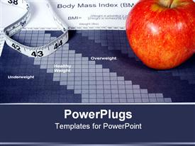 PowerPoint template displaying large red apple measuring tape body max index paper