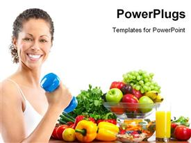 PowerPoint template displaying smiling woman working out with blue dumbbell with vegetables on white background