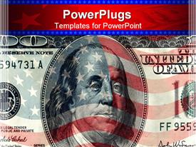 Background from American flag and one hundred dollars powerpoint design layout