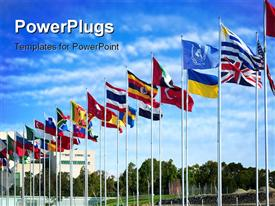 Flags of the world flapping in the wind powerpoint template