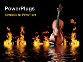 PowerPoint template displaying old wooden violin on water waves with flames