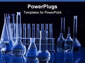 PowerPoint template displaying science research laboratory with test tubes, vials, flasks in blue with black background