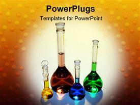 PowerPoint template displaying volumetric flasks with various colored liquids in the background.