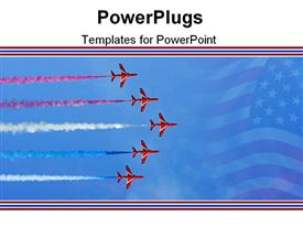 Formation flight of the royal air force aerobatics team the red arrows template for powerpoint