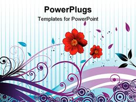 PowerPoint template displaying colorful flowers with cool background