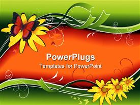 PowerPoint template displaying fantasy shapes and cool background with flowers for text input