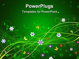 PowerPoint template displaying flowers and butterflies on green background