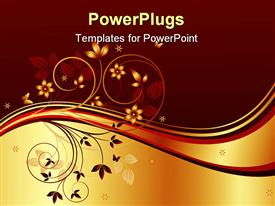 PowerPoint template displaying a beautiful depiction of plants and butterflies with golden and brown background