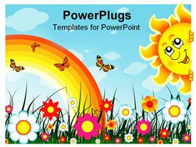 PowerPoint template displaying multiple colorful flowers with rainbow, butterflies and smiling sun