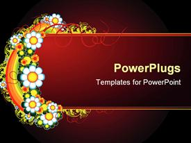 PowerPoint template displaying a number of colorful flowers with reddish background