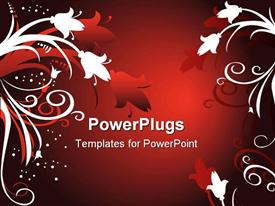 PowerPoint template displaying red ombre spotlight background with white and red vines and flowers