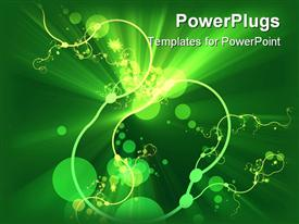 PowerPoint template displaying abstract depiction of  floral design on a green background