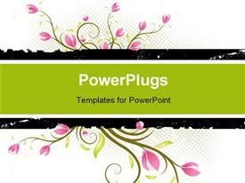 PowerPoint template displaying grunge AD background with flowers and leaves in the background.