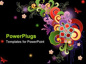 PowerPoint template displaying abstract floral pattern with various colored shapes and glowing colored spots on a black background
