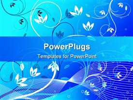 PowerPoint template displaying abstract background of a blue and white floral design