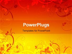 PowerPoint template displaying orange and yellow color vector floral depiction