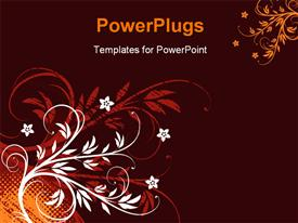 PowerPoint template displaying grunge floral background with orange halftone pattern