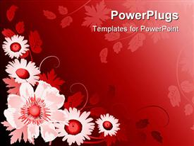 PowerPoint template displaying floral pattern with white and red flowers in red background